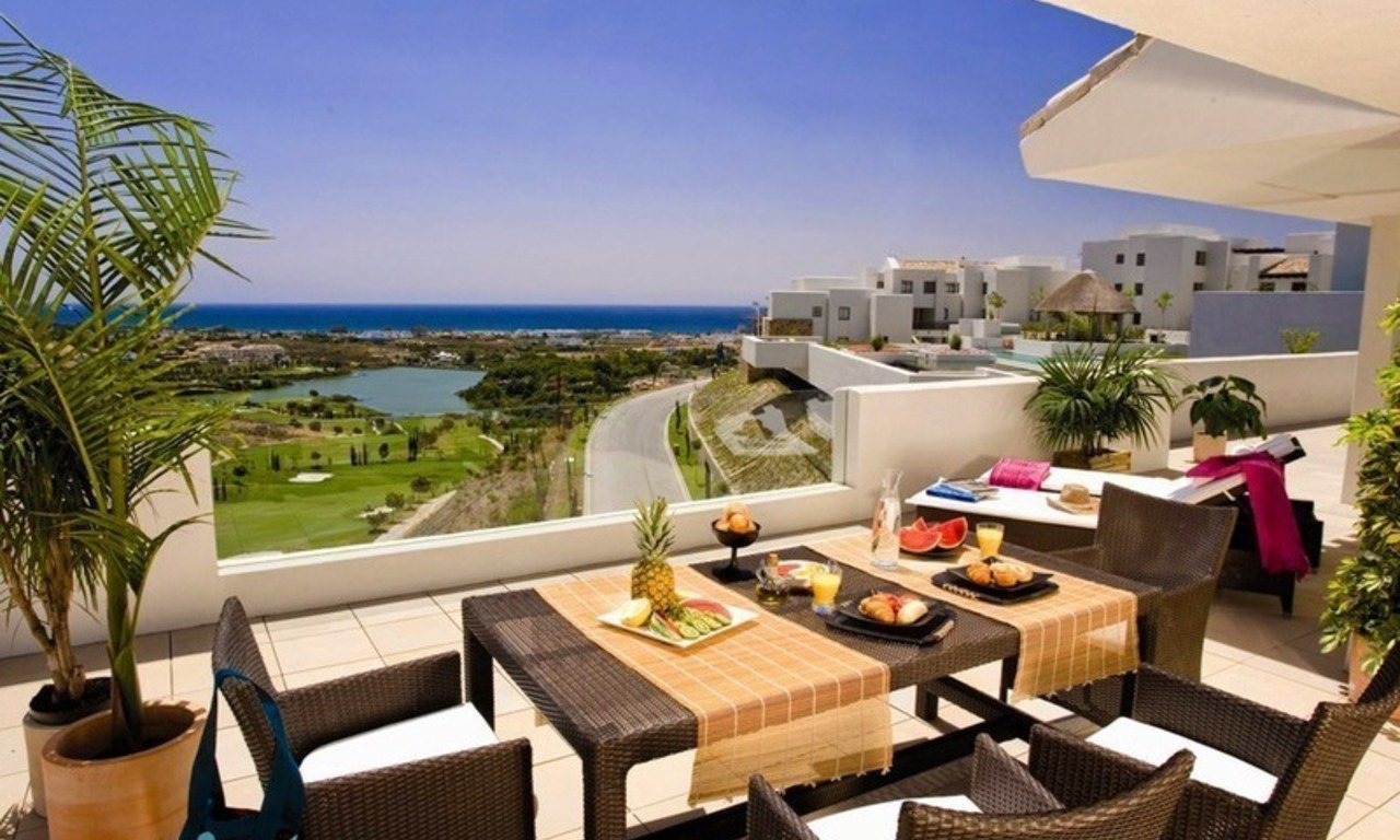 Modern frontline golf apartments for sale Marbella Benahavis 0