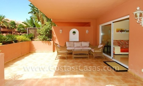 Spacious luxury ground floor apartment for sale in Nueva Andalucía very near to Puerto Banús in Marbella