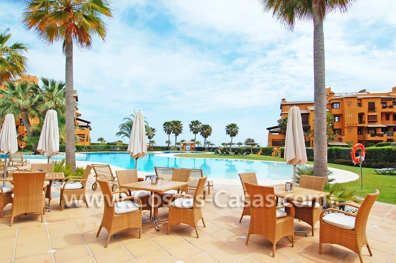 Luxury apartment for sale in a front line beach complex, New Golden Mile, between Marbella and Estepona