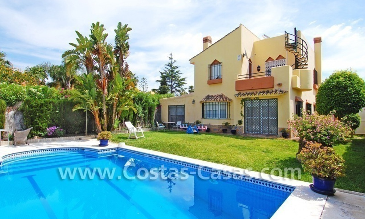 Andalusian styled beachside villa for sale in complex of villas in Marbella west 0