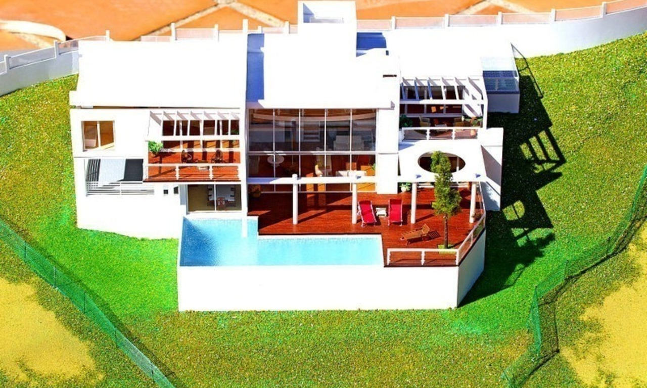 Modern contemporary villa under construction for sale in the Marbella area 1