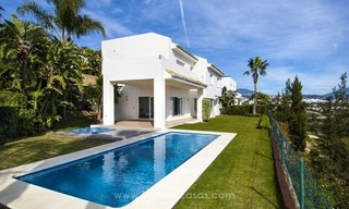 Front line golf, modern style villa for sale in Marbella - Benahavis with spectacular views to the sea, golf and mountains 9