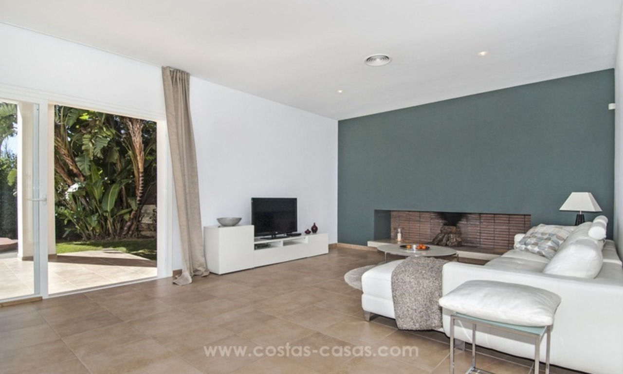 Front line golf, modern style villa for sale in Marbella - Benahavis with spectacular views to the sea, golf and mountains 16