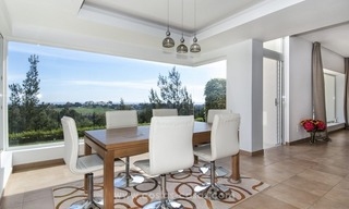 Front line golf, modern style villa for sale in Marbella - Benahavis with spectacular views to the sea, golf and mountains 19