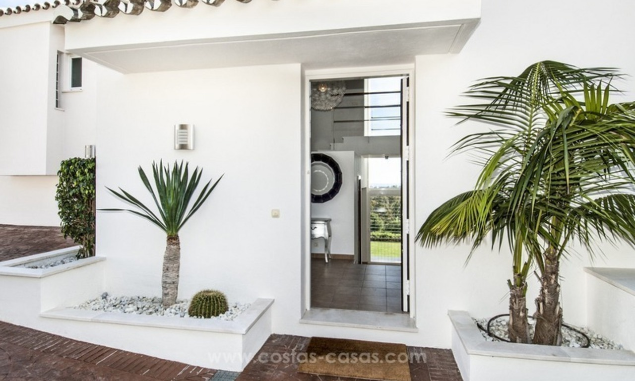 Front line golf, modern style villa for sale in Marbella - Benahavis with spectacular views to the sea, golf and mountains 22