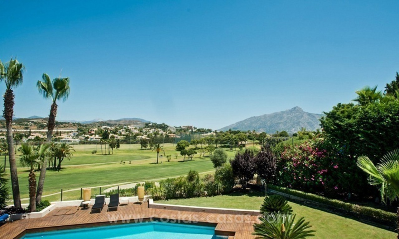 Contemporary refurbished frontline golf villa for sale in Nueva Andalucía, Marbella 1
