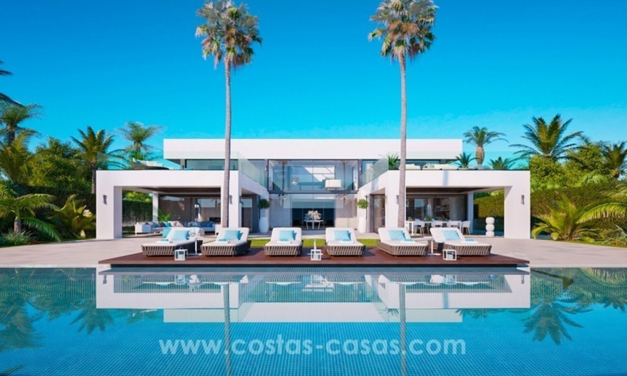 Front Line Beach Newly Constructed Contemporary Villa for sale on the New Golden Mile, Marbella - Estepona 0