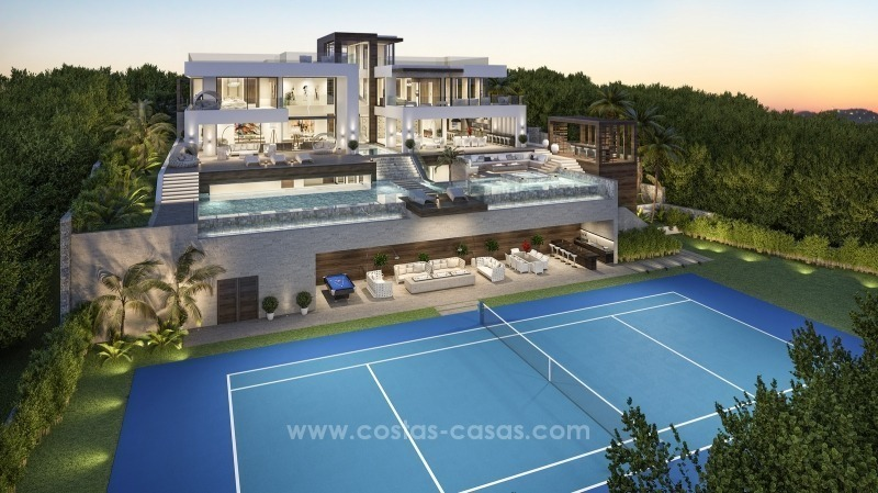 Contemporary villa with tennis court for sale in the heart of the Golf Valley, Nueva Andalucía, Marbella