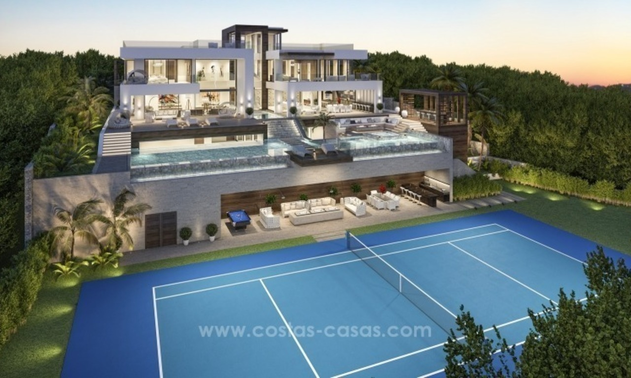 Contemporary villa with tennis court for sale in the heart of the Golf Valley, Nueva Andalucía, Marbella 0