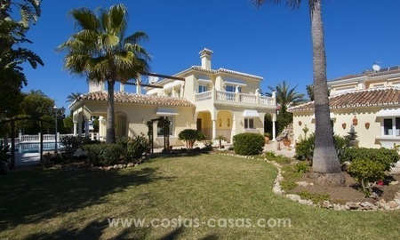 Immaculate second line beach villa for sale with sea views in Marbella East