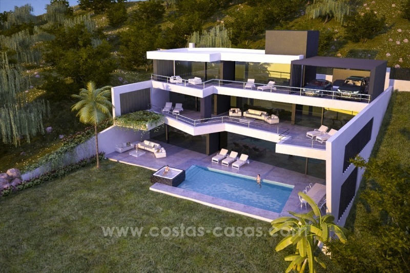 New modern luxury villa for sale in Marbella with sea views under construction