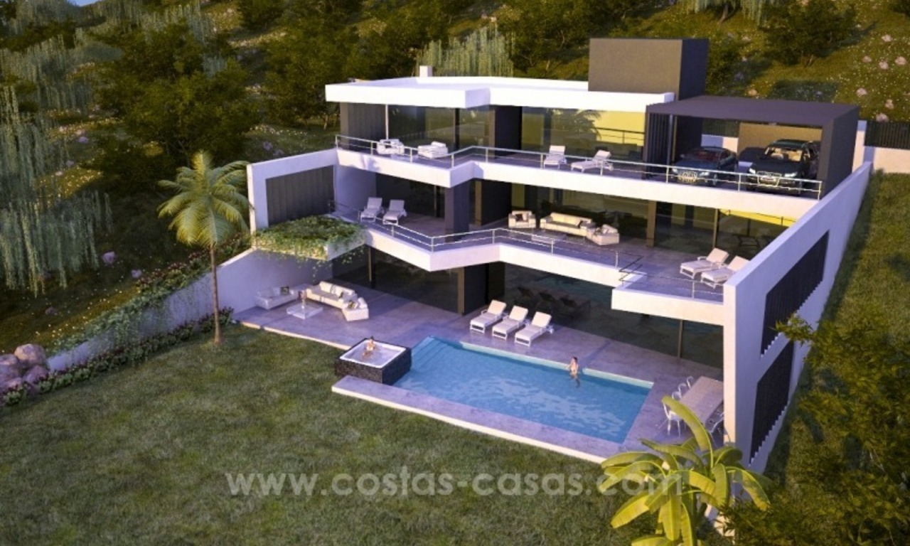 New modern luxury villa for sale in Marbella with sea views under construction 0