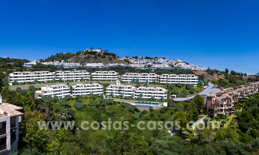 New modern apartments for sale in Benahavis - Marbella with golf and sea views. Last units, key ready. 6% Discount! 7320
