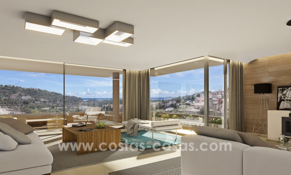 New modern apartments for sale in Benahavis - Marbella with golf and sea views. Last units, key ready. 6% Discount! 7362