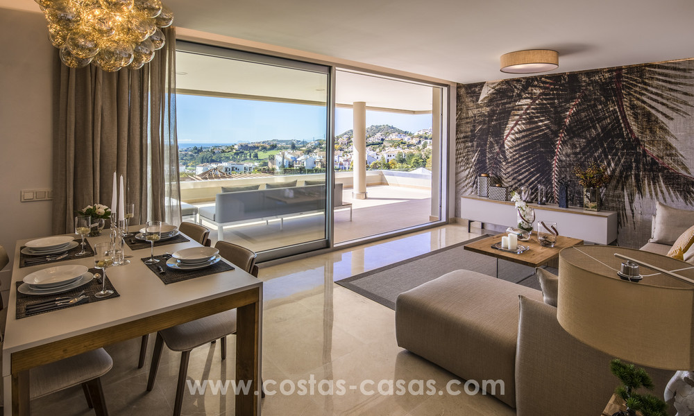 New modern apartments for sale in Benahavis - Marbella with golf and sea views. Last units, key ready. 6% Discount! 7354