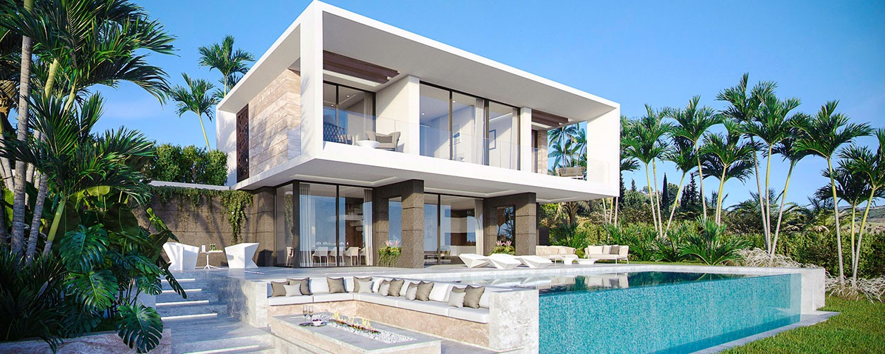 Lovely brand new modern golf villas for sale with great sea and golf views, Estepona, Costa del Sol