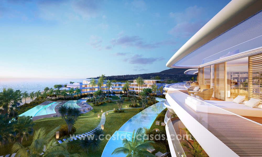 Spectacular modern luxury frontline beach apartments for sale in Estepona, Costa del Sol. 3822