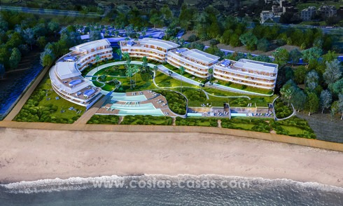 Spectacular modern luxury frontline beach apartments for sale in Estepona, Costa del Sol. Ready to move in. 3826