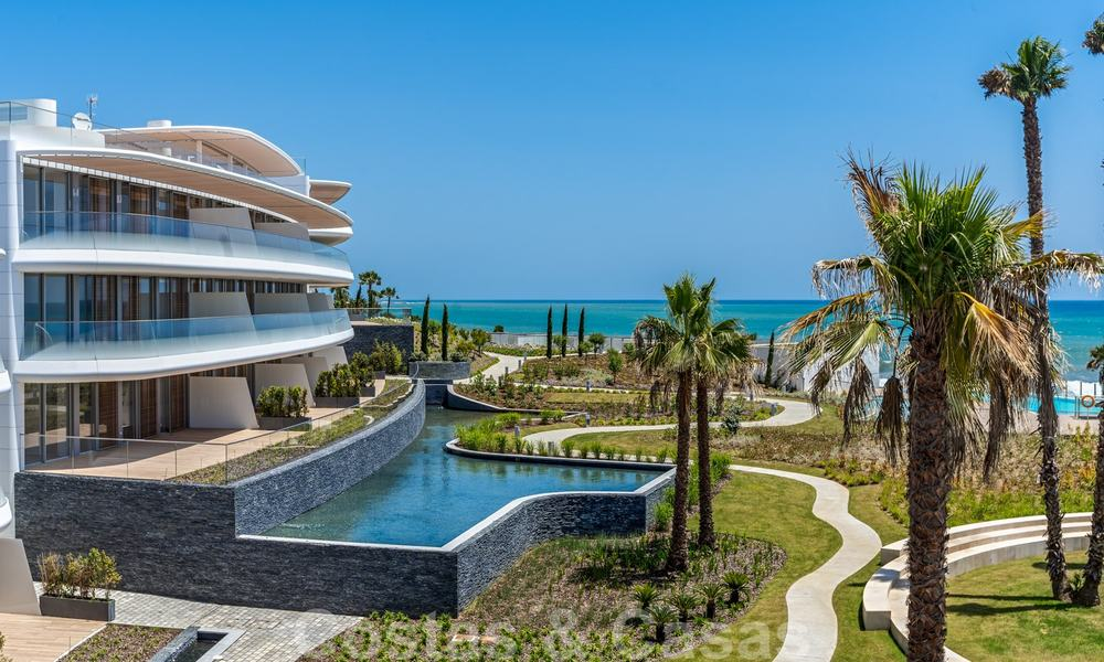 Spectacular modern luxury frontline beach apartments for sale in Estepona, Costa del Sol. Ready to move in. 27757