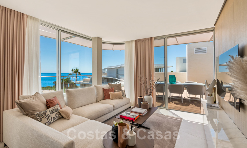 Spectacular modern luxury frontline beach apartments for sale in Estepona, Costa del Sol. Ready to move in. 27814