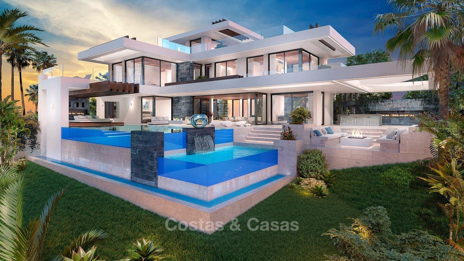 Luxury new modern villa with sea and golf views for sale in benahavis fullscreen