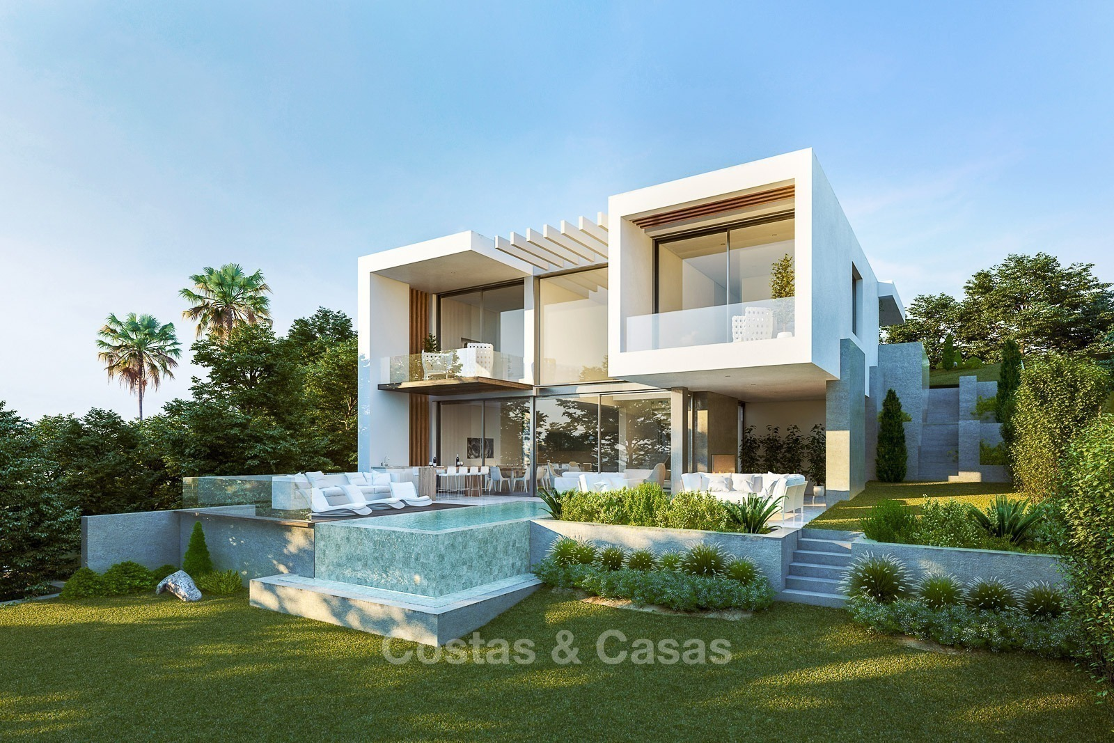 modern villas with sea and golf views for sale benahavis marbella. Black Bedroom Furniture Sets. Home Design Ideas
