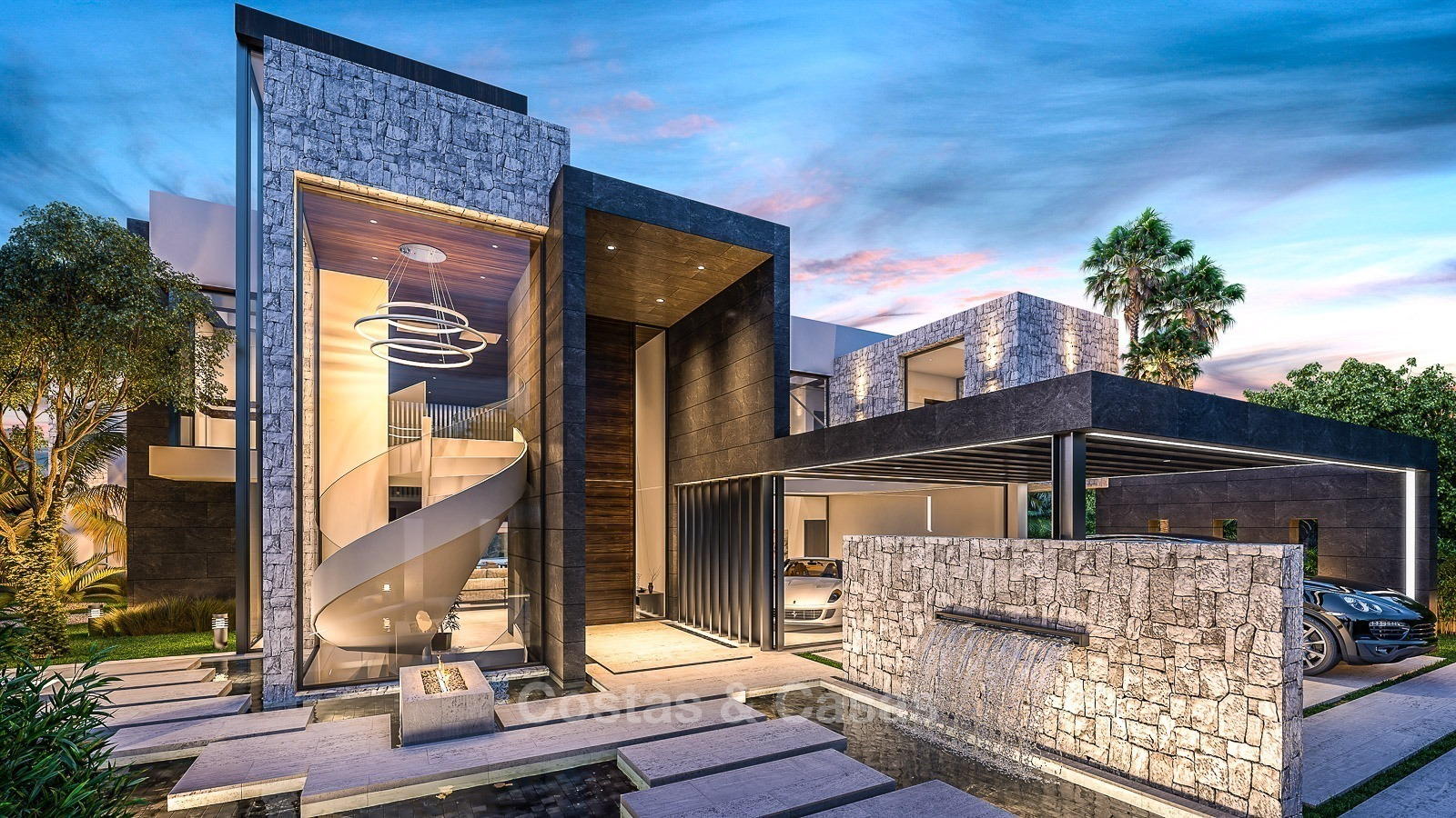 Luxury modern villa for sale located on a golf course with panoramic golf and fullscreen