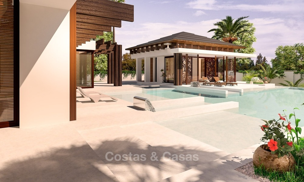 New, Modern Thai Style Villa with Sea Views for sale on The New Golden Mile, Estepona - Marbella 2046