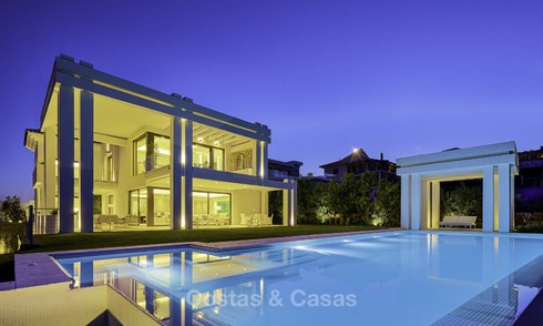 Elegant designer style villa for sale, frontline golf on a golf resort on the New Golden Mile, Marbella - Benahavis 13855