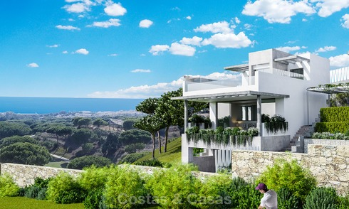 New modern and spacious first line golf townhouses for sale with breath taking views over Mediterranean and golf, Marbella East. Ready to move in. 3706