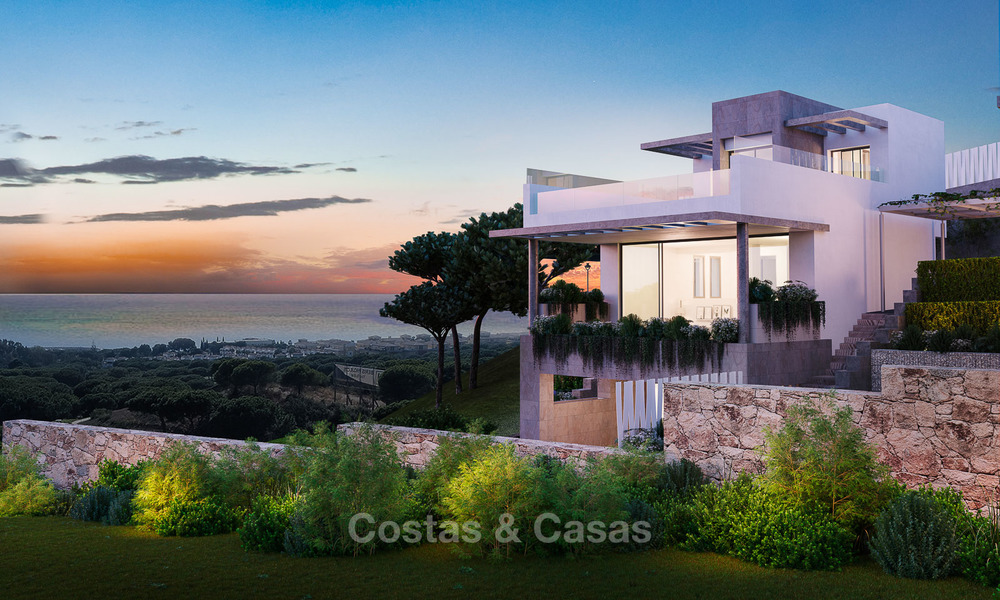 New modern and spacious first line golf townhouses for sale with breath taking views over Mediterranean and golf, Marbella East 3707