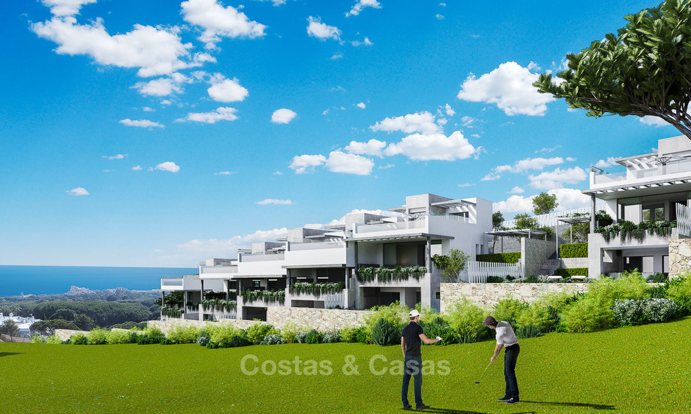 New modern and spacious first line golf townhouses for sale with breath taking views over Mediterranean and golf, Marbella East 3709