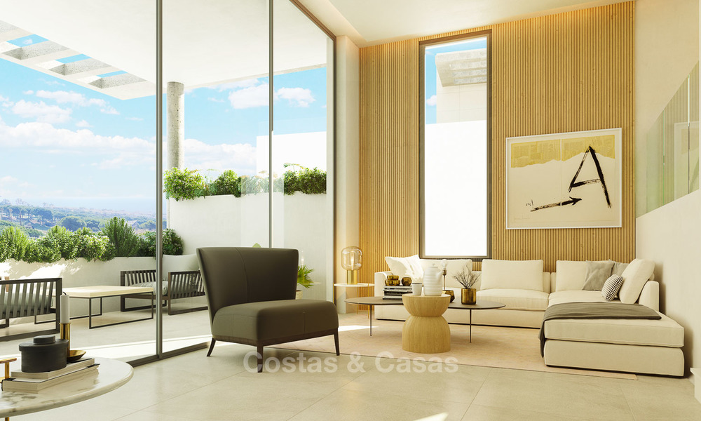 New modern and spacious first line golf townhouses for sale with breath taking views over Mediterranean and golf, Marbella East 3712