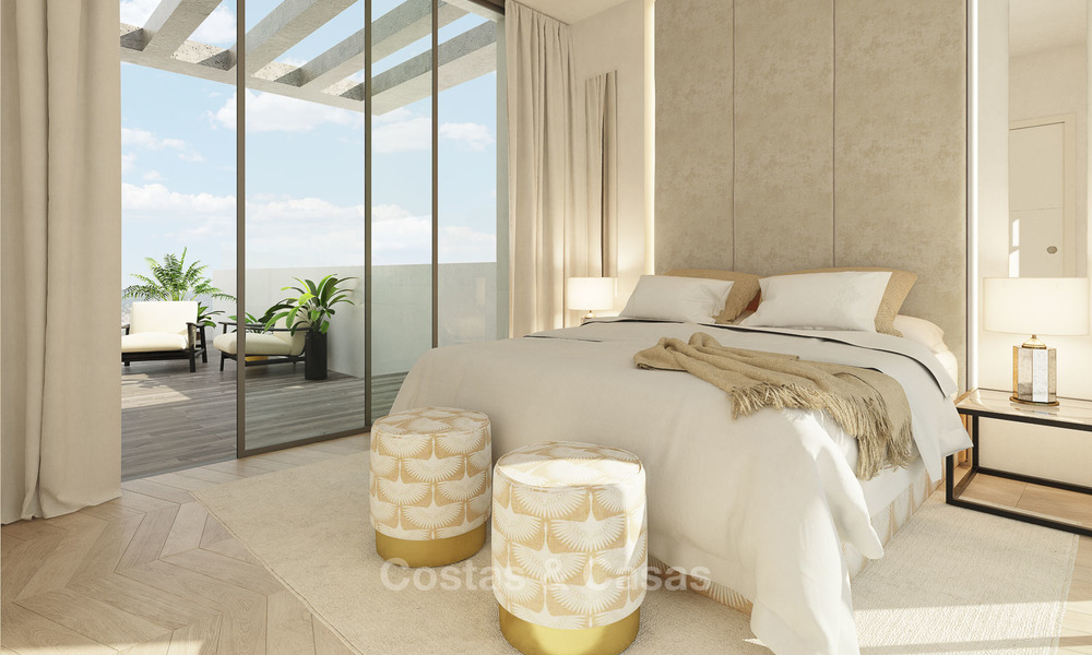 New modern and spacious first line golf townhouses for sale with breath taking views over Mediterranean and golf, Marbella East 3713