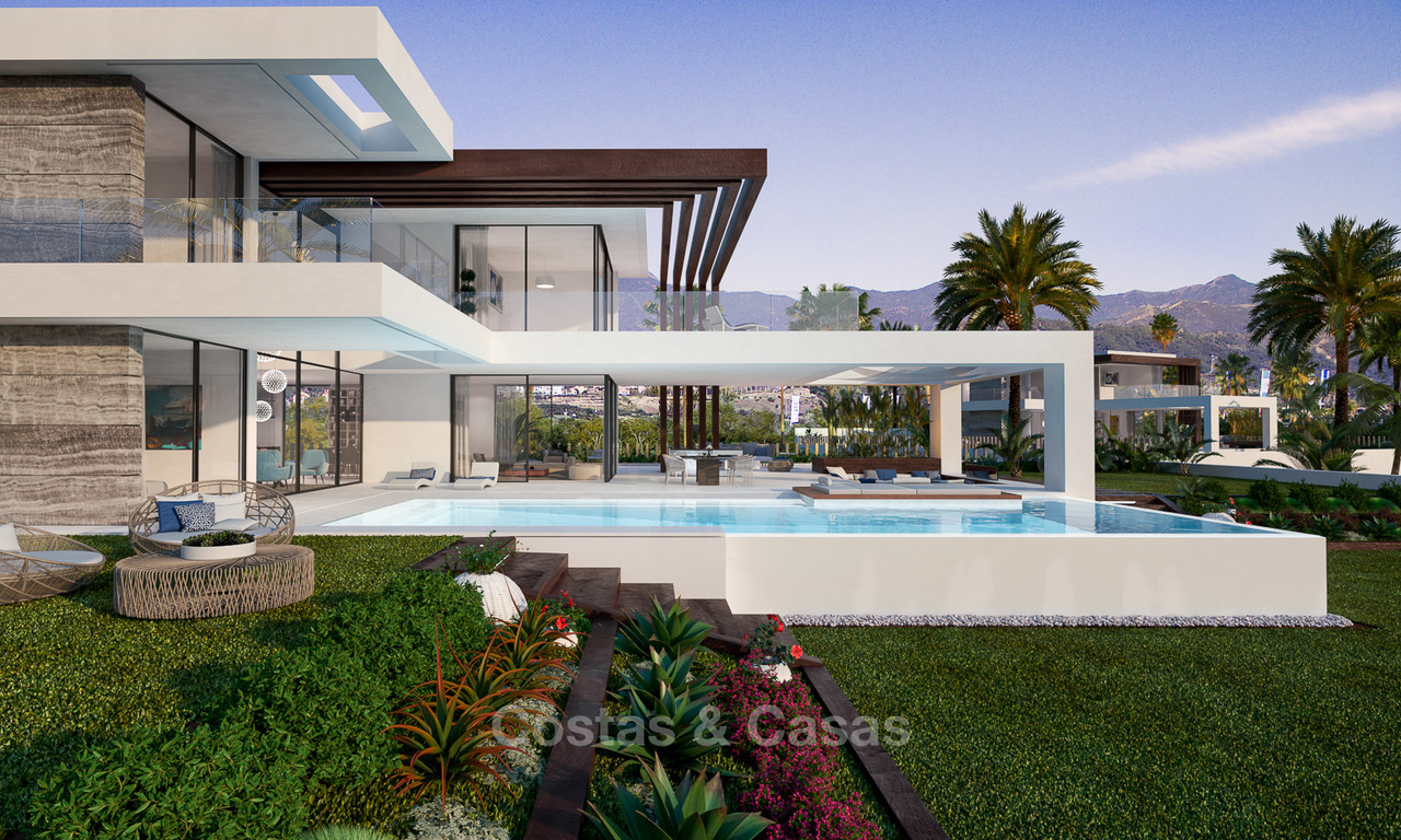 Stunning, spacious, modern luxury villas with wonderful sea views for sale in a new development between Estepona and Marbella 4329