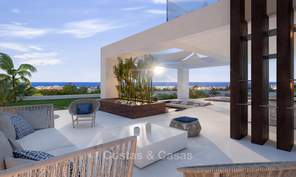 Special offer for the last villa! Key ready! Stunning, spacious, modern luxury villas with sea views for sale in a new complex between Estepona and Marbella 4333