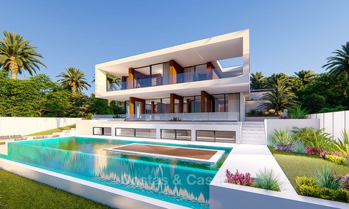Detached modern new villa for sale, second line golf with unobstructed golf and sea views, Estepona 4700