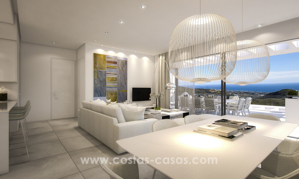 Modern-contemporary luxury apartments with marvellous sea views for sale, short drive to Marbella centre. 4927