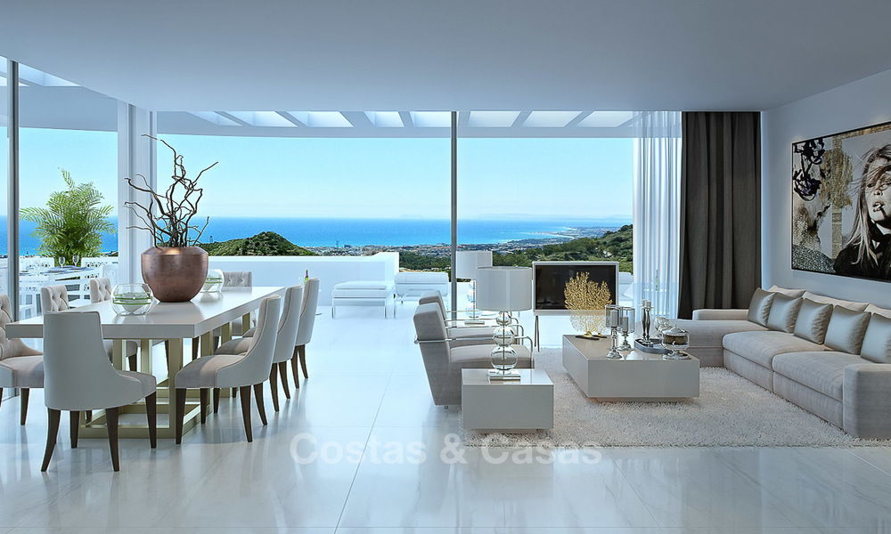 Modern-contemporary luxury apartments with marvellous sea views for sale, short drive to Marbella centre. 4910