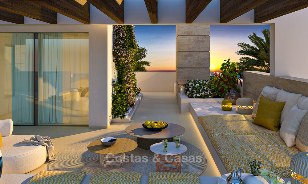 Modern-contemporary luxury apartments with exquisite sea views for sale, short drive to Marbella centre. 4946