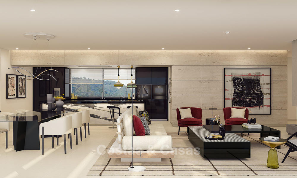 Modern-contemporary luxury apartments with exquisite sea views for sale, short drive to Marbella centre. 4952