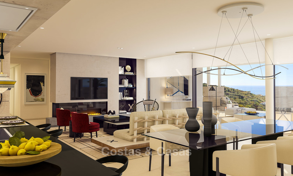 Modern-contemporary luxury apartments with exquisite sea views for sale, short drive to Marbella centre. 4958