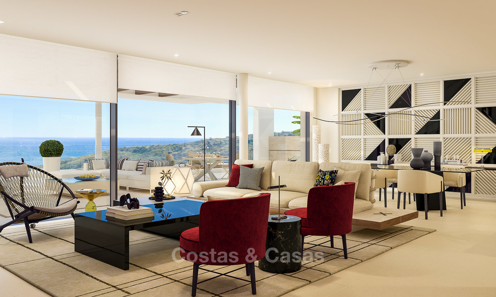 Modern-contemporary luxury apartments with exquisite sea views for sale, short drive to Marbella centre. 4959