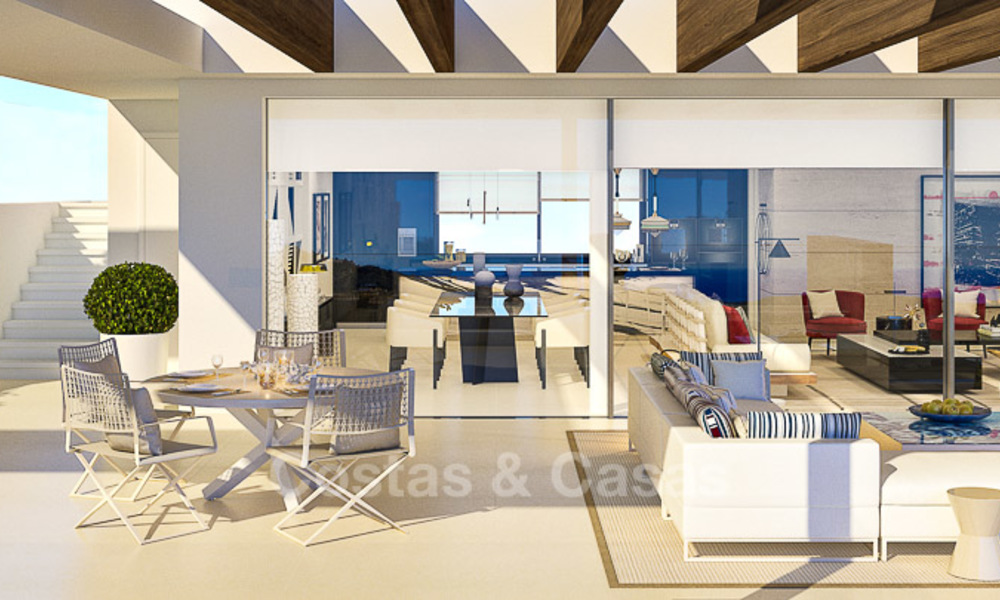 Modern-contemporary luxury apartments with exquisite sea views for sale, short drive to Marbella centre. 4960