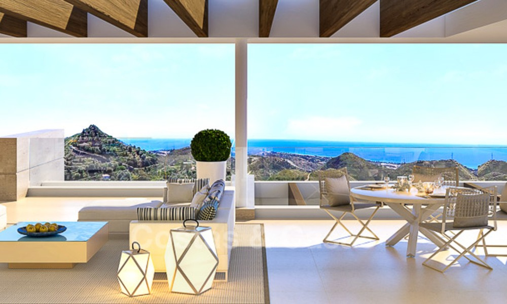 Modern-contemporary luxury apartments with exquisite sea views for sale, short drive to Marbella centre. 4961