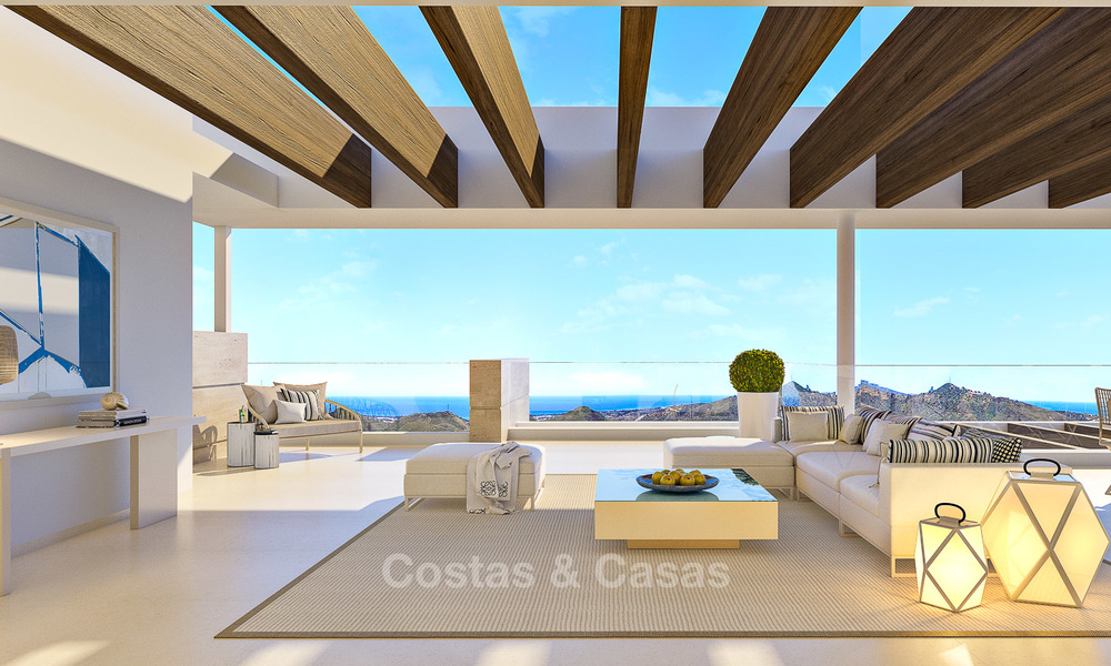 Modern-contemporary luxury apartments with exquisite sea views for sale, short drive to Marbella centre. 4962