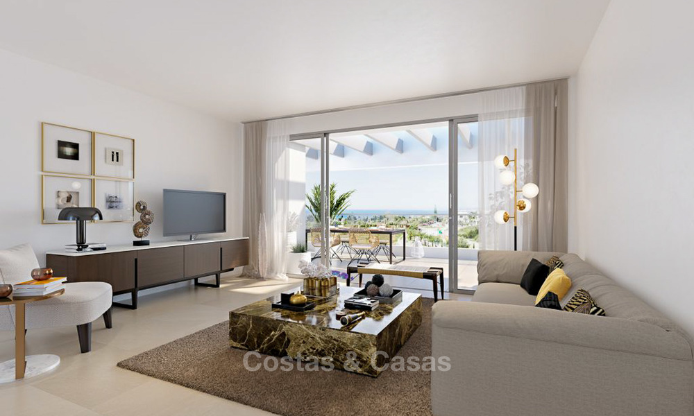 New modern luxury apartments with sea views for sale, Marbella. Walking distance to golf and beach. 5114