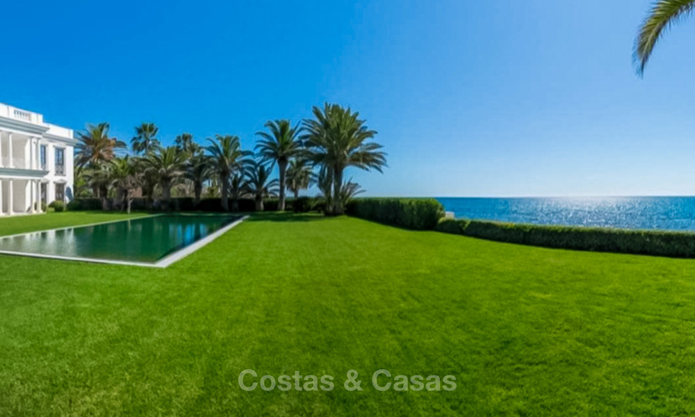 Prestigious palatial front line beach villa for sale, classic style, between Marbella and Estepona 5500