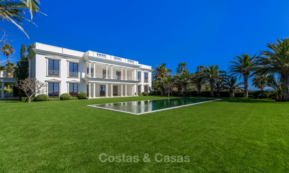 Prestigious palatial front line beach villa for sale, classic style, between Marbella and Estepona 5501
