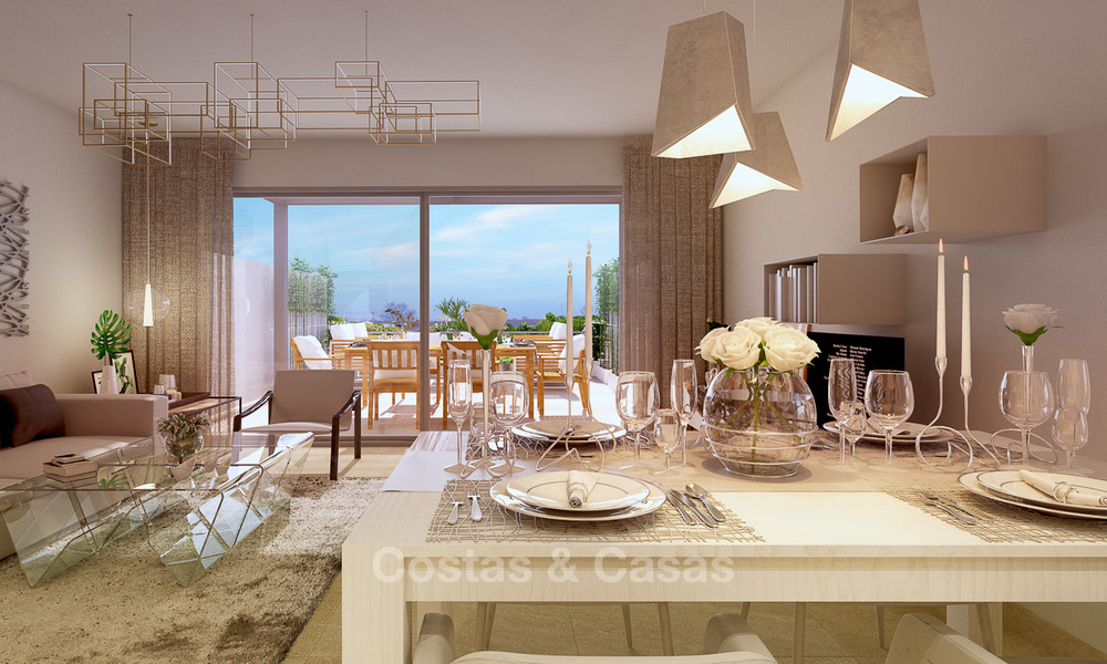 New, modern and exclusive golf townhouses with spectacular golf views for sale in Estepona. Discount! 12144